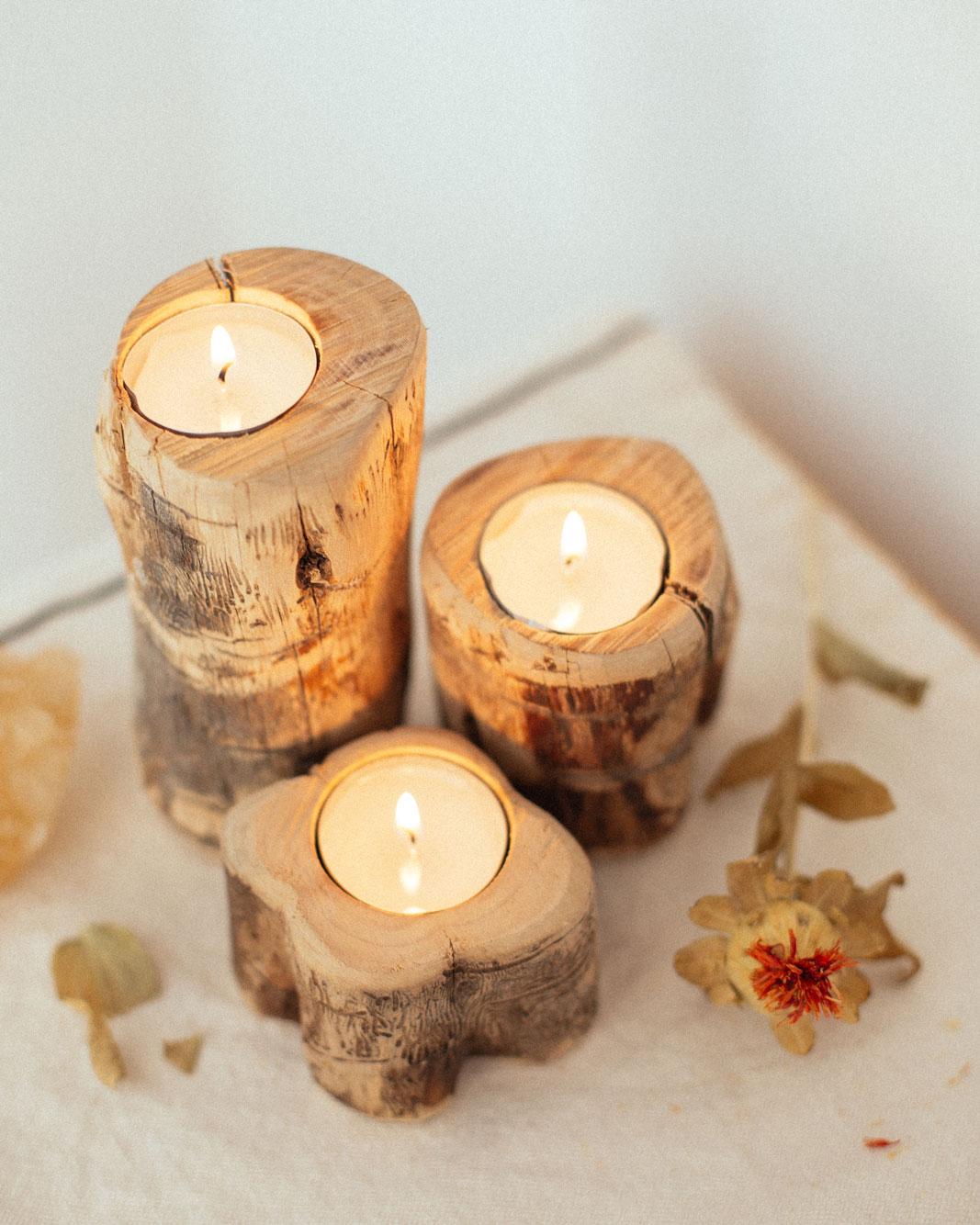 Porta velas olivo viejo